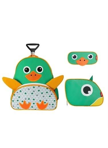 Zoozy Ördek Çekçekli Çanta Seti (Çekçekli Sırt Çanta-Beslenme Çantası-Kalemlik) Renkli